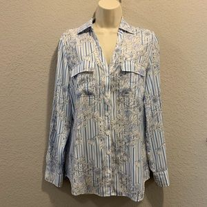 New York & Company Blue and White Blouse